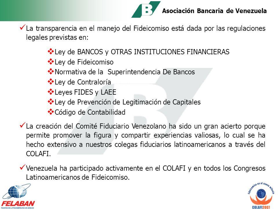 Asociación Bancaria de Venezuela El Estado solicitó garantías a través del Fideicomiso a las instituciones financieras afectadas durante dicha crisis.