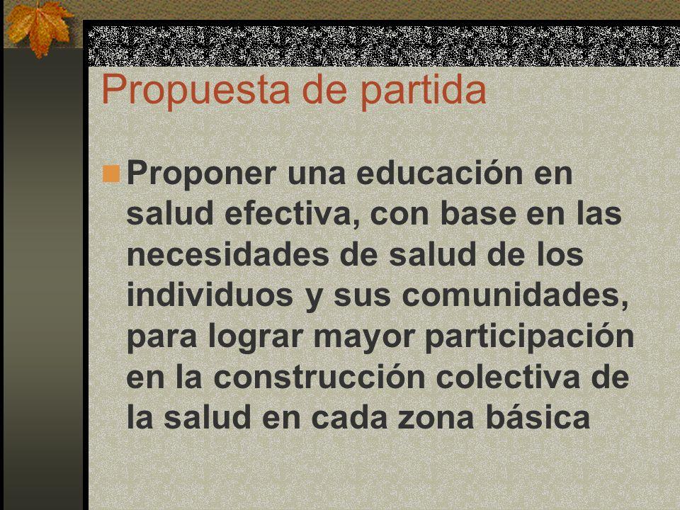 Propuesta de partida Proponer una educación en salud efectiva, con base en las necesidades de salud de los individuos y sus comunidades, para lograr m