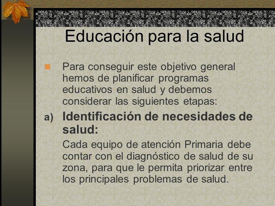 Educación para la salud Para conseguir este objetivo general hemos de planificar programas educativos en salud y debemos considerar las siguientes eta