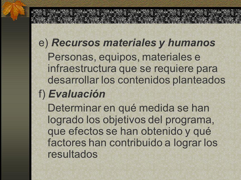 e) Recursos materiales y humanos Personas, equipos, materiales e infraestructura que se requiere para desarrollar los contenidos planteados f) Evaluac