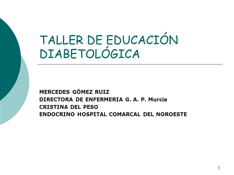 1 TALLER DE EDUCACIÓN DIABETOLÓGICA MERCEDES GÓMEZ RUIZ DIRECTORA DE ENFERMERIA G. A. P. Murcia CRISTINA DEL PESO ENDOCRINO HOSPITAL COMARCAL DEL NORO