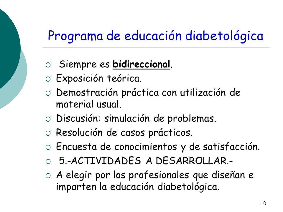 10 Programa de educación diabetológica Siempre es bidireccional. Exposición teórica. Demostración práctica con utilización de material usual. Discusió