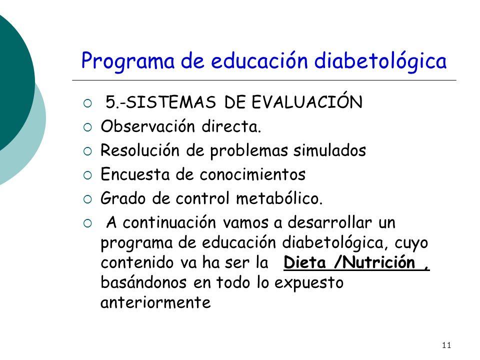 11 Programa de educación diabetológica 5.-SISTEMAS DE EVALUACIÓN Observación directa. Resolución de problemas simulados Encuesta de conocimientos Grad