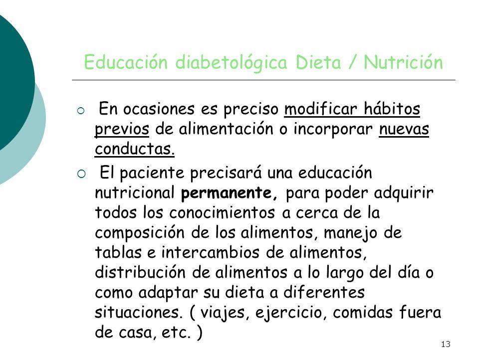 13 Educación diabetológica Dieta / Nutrición En ocasiones es preciso modificar hábitos previos de alimentación o incorporar nuevas conductas. El pacie