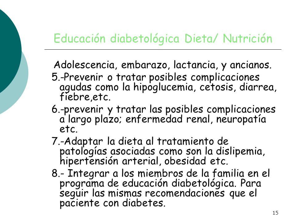 15 Educación diabetológica Dieta/ Nutrición Adolescencia, embarazo, lactancia, y ancianos. 5.-Prevenir o tratar posibles complicaciones agudas como la