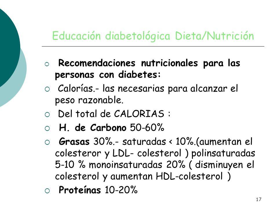 17 Educación diabetológica Dieta/Nutrición Recomendaciones nutricionales para las personas con diabetes: Calorías.- las necesarias para alcanzar el pe