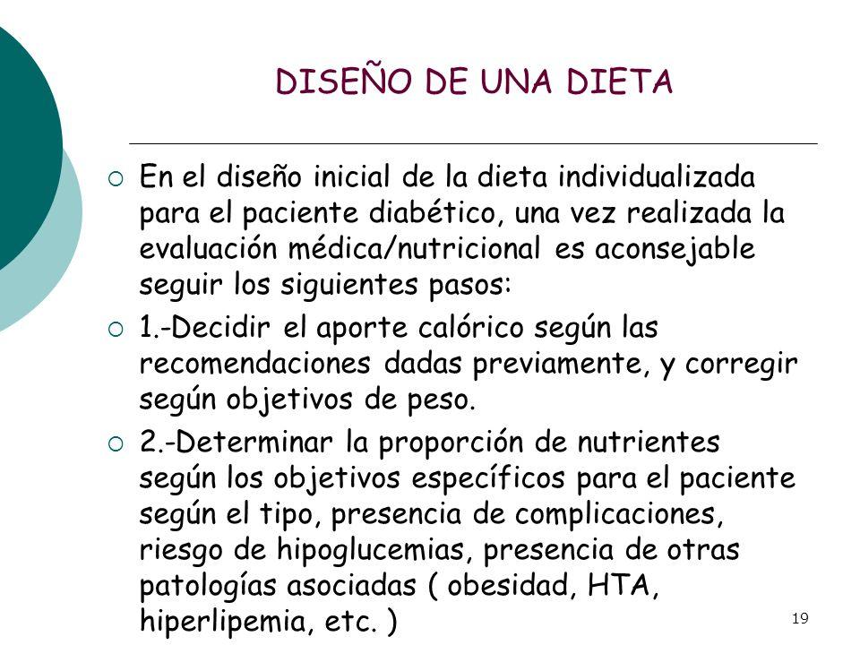 19 DISEÑO DE UNA DIETA En el diseño inicial de la dieta individualizada para el paciente diabético, una vez realizada la evaluación médica/nutricional