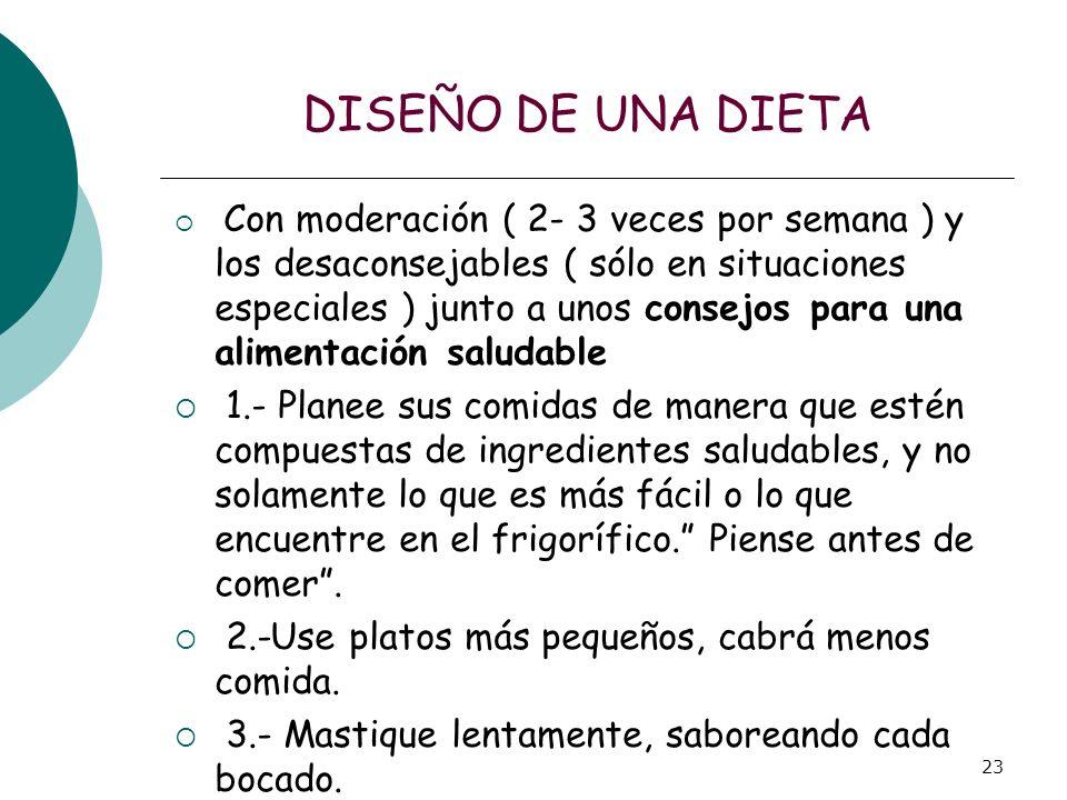 23 DISEÑO DE UNA DIETA Con moderación ( 2- 3 veces por semana ) y los desaconsejables ( sólo en situaciones especiales ) junto a unos consejos para un
