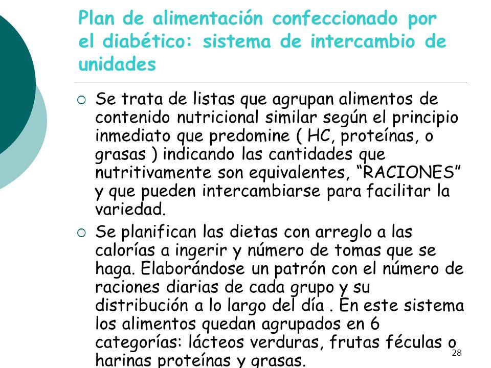 28 Plan de alimentación confeccionado por el diabético: sistema de intercambio de unidades Se trata de listas que agrupan alimentos de contenido nutri