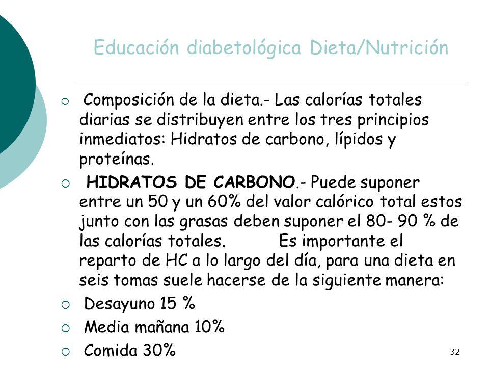 32 Educación diabetológica Dieta/Nutrición Composición de la dieta.- Las calorías totales diarias se distribuyen entre los tres principios inmediatos: