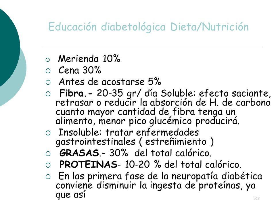 33 Educación diabetológica Dieta/Nutrición Merienda 10% Cena 30% Antes de acostarse 5% Fibra.- 20-35 gr/ día Soluble: efecto saciante, retrasar o redu