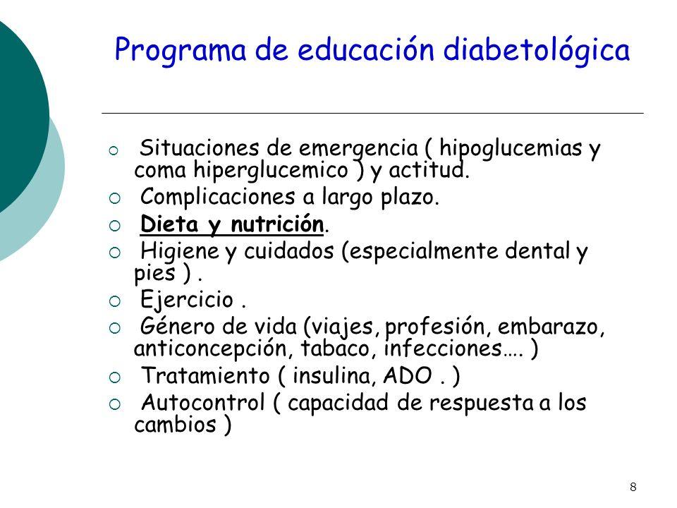 8 Programa de educación diabetológica Situaciones de emergencia ( hipoglucemias y coma hiperglucemico ) y actitud. Complicaciones a largo plazo. Dieta