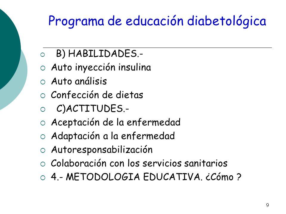 9 Programa de educación diabetológica B) HABILIDADES.- Auto inyección insulina Auto análisis Confección de dietas C)ACTITUDES.- Aceptación de la enfer