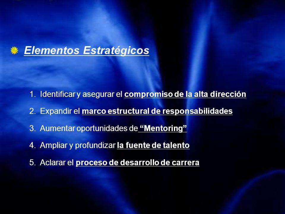 Elementos Estratégicos 1.Identificar y asegurar el compromiso de la alta dirección 2.Expandir el marco estructural de responsabilidades 3.Aumentar opo