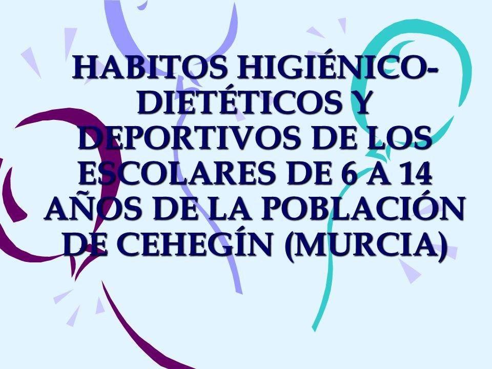 HABITOS HIGIÉNICO- DIETÉTICOS Y DEPORTIVOS DE LOS ESCOLARES DE 6 A 14 AÑOS DE LA POBLACIÓN DE CEHEGÍN (MURCIA)
