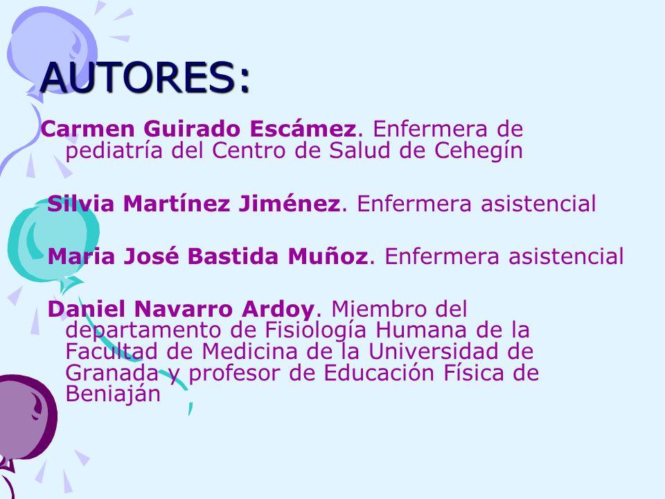 AUTORES: Carmen Guirado Escámez. Enfermera de pediatría del Centro de Salud de Cehegín Silvia Martínez Jiménez. Enfermera asistencial Maria José Basti