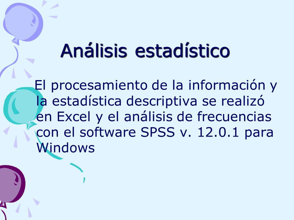 Análisis estadístico El procesamiento de la información y la estadística descriptiva se realizó en Excel y el análisis de frecuencias con el software