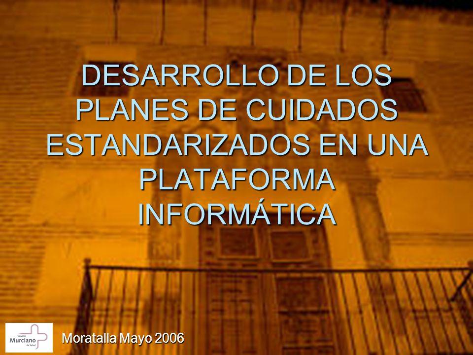 DESARROLLO DE LOS PLANES DE CUIDADOS ESTANDARIZADOS EN UNA PLATAFORMA INFORMÁTICA Moratalla Mayo 2006