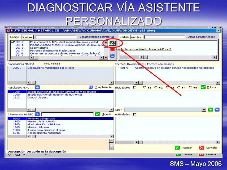 DIAGNOSTICAR VÍA ASISTENTE PERSONALIZADO SMS – Mayo 2006