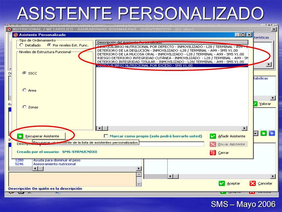 ASISTENTE PERSONALIZADO SMS – Mayo 2006