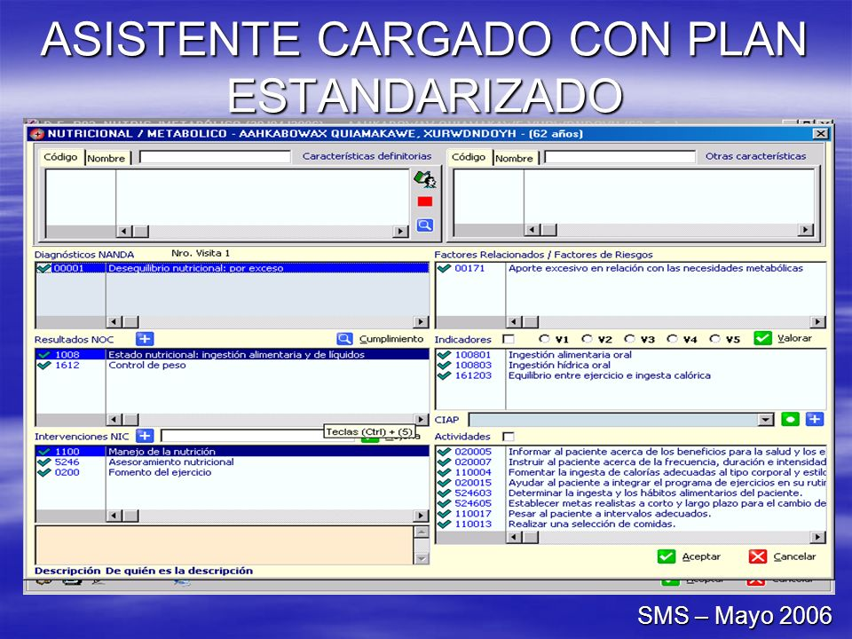 ASISTENTE CARGADO CON PLAN ESTANDARIZADO SMS – Mayo 2006