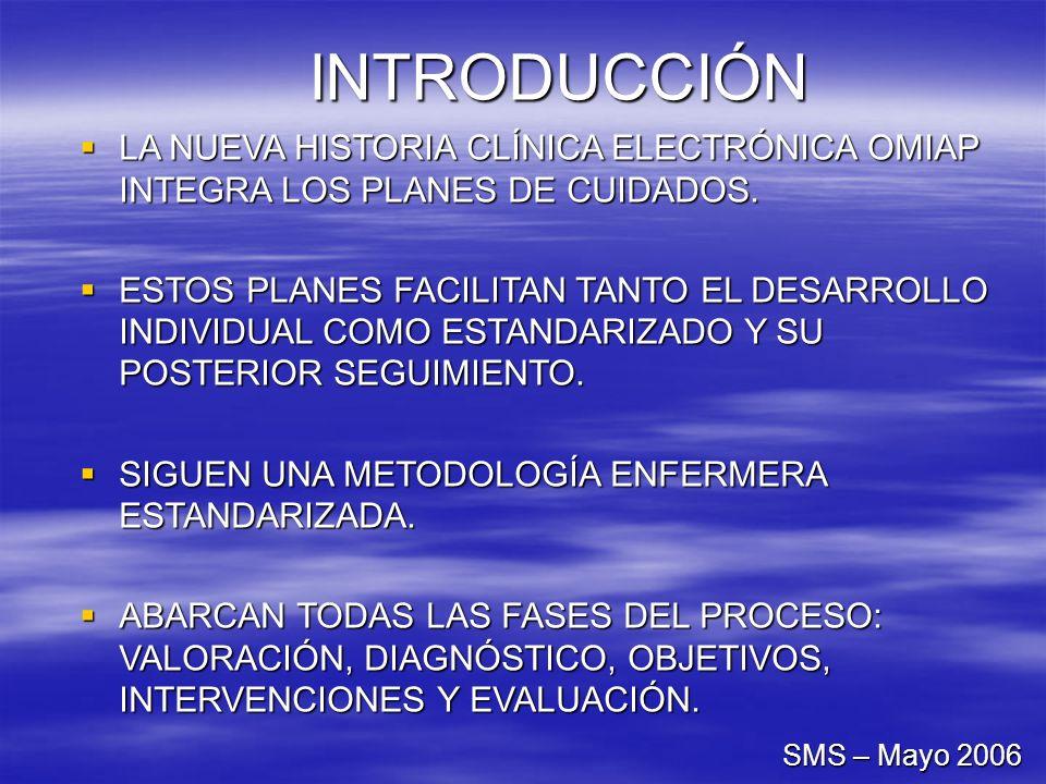 INTRODUCCIÓN LA NUEVA HISTORIA CLÍNICA ELECTRÓNICA OMIAP INTEGRA LOS PLANES DE CUIDADOS. LA NUEVA HISTORIA CLÍNICA ELECTRÓNICA OMIAP INTEGRA LOS PLANE