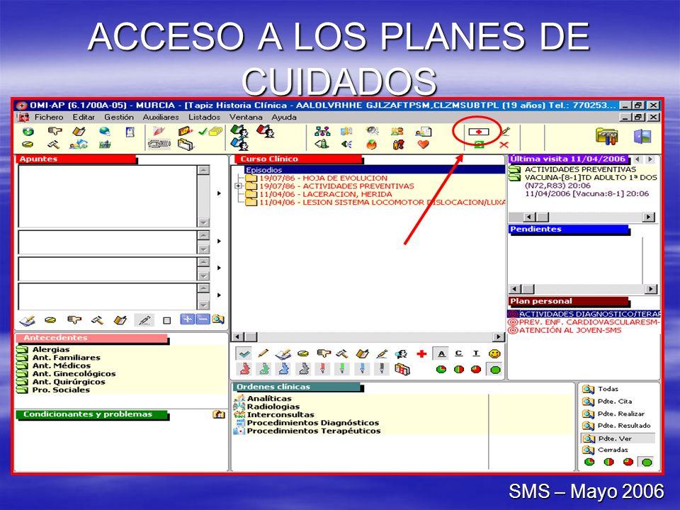 ACCESO A LOS PLANES DE CUIDADOS SMS – Mayo 2006