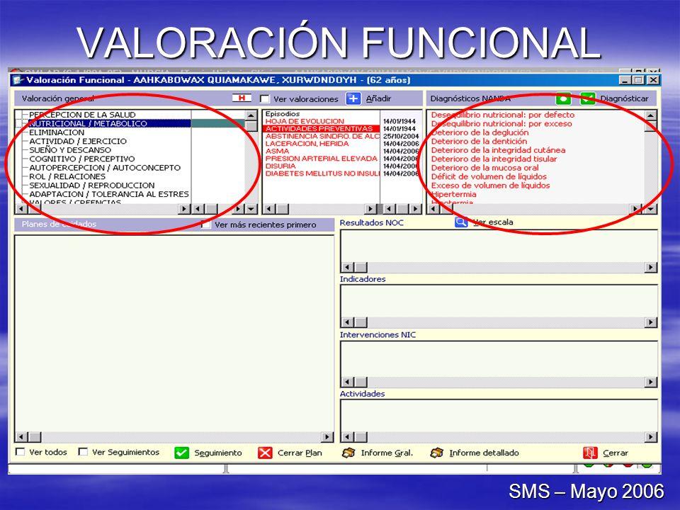 VALORACIÓN FUNCIONAL SMS – Mayo 2006