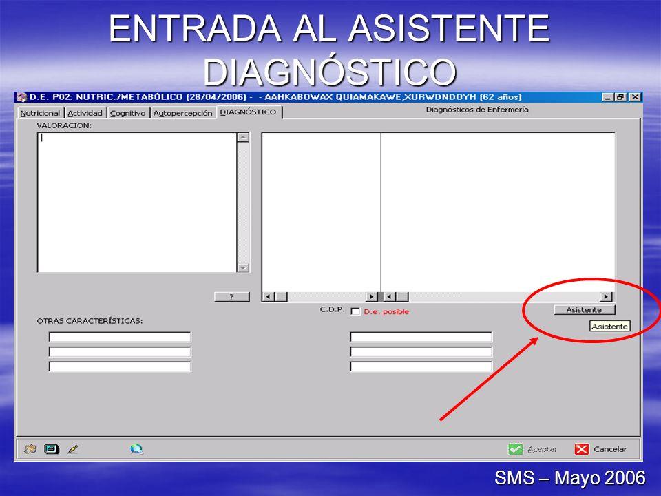 ENTRADA AL ASISTENTE DIAGNÓSTICO SMS – Mayo 2006