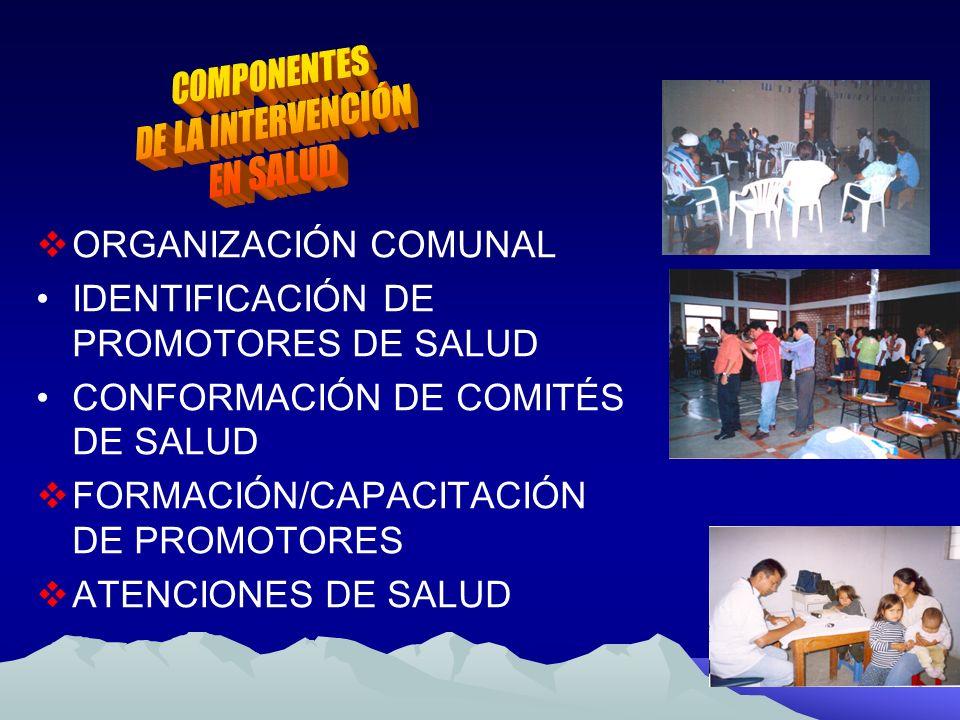 ORGANIZACIÓN COMUNAL IDENTIFICACIÓN DE PROMOTORES DE SALUD CONFORMACIÓN DE COMITÉS DE SALUD FORMACIÓN/CAPACITACIÓN DE PROMOTORES ATENCIONES DE SALUD
