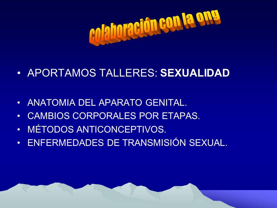 APORTAMOS TALLERES: SEXUALIDAD ANATOMIA DEL APARATO GENITAL. CAMBIOS CORPORALES POR ETAPAS. MÉTODOS ANTICONCEPTIVOS. ENFERMEDADES DE TRANSMISIÓN SEXUA
