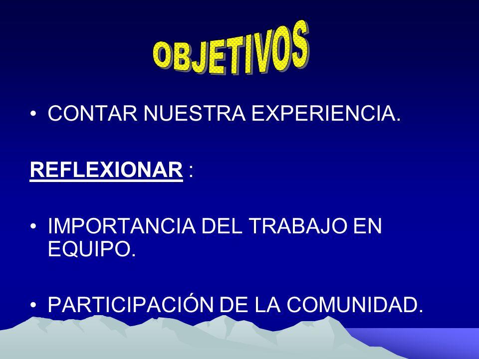 CONTAR NUESTRA EXPERIENCIA. REFLEXIONAR : IMPORTANCIA DEL TRABAJO EN EQUIPO. PARTICIPACIÓN DE LA COMUNIDAD.