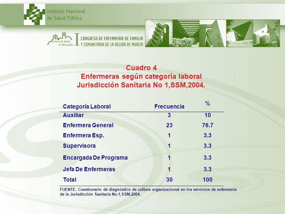 Cuadro 4 Enfermeras según categoría laboral Jurisdicción Sanitaria No 1,SSM,2004. Categoría LaboralFrecuencia % Auxiliar310 Enfermera General2376.7 En