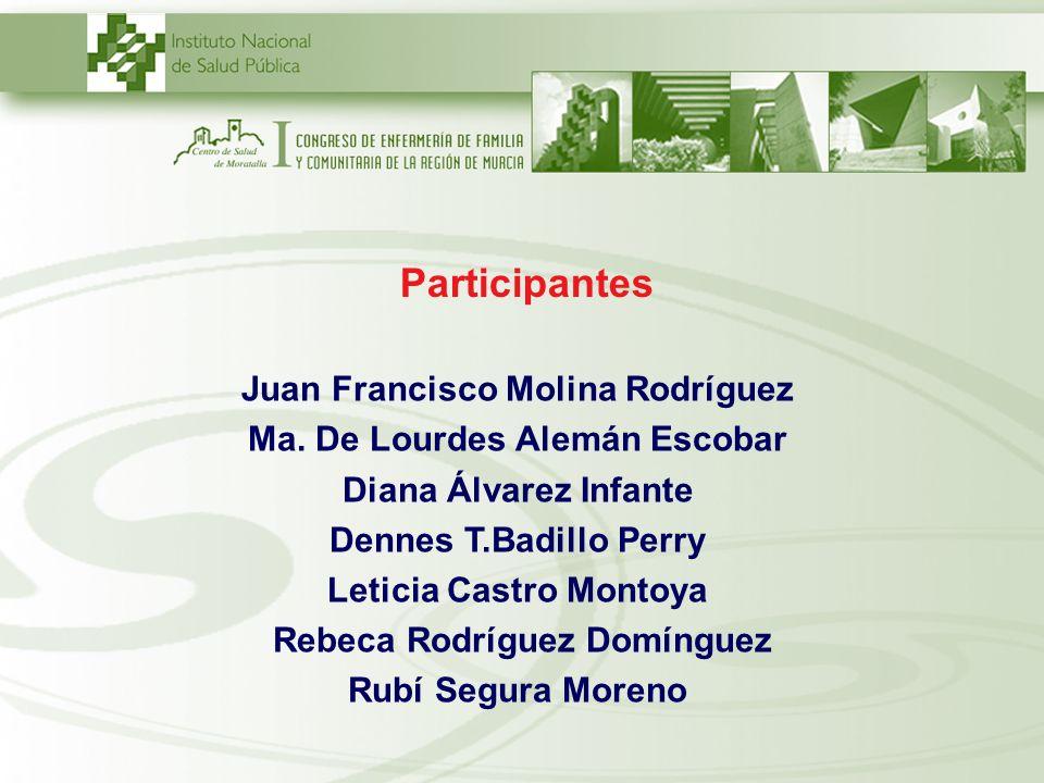 Participantes Juan Francisco Molina Rodríguez Ma. De Lourdes Alemán Escobar Diana Álvarez Infante Dennes T.Badillo Perry Leticia Castro Montoya Rebeca