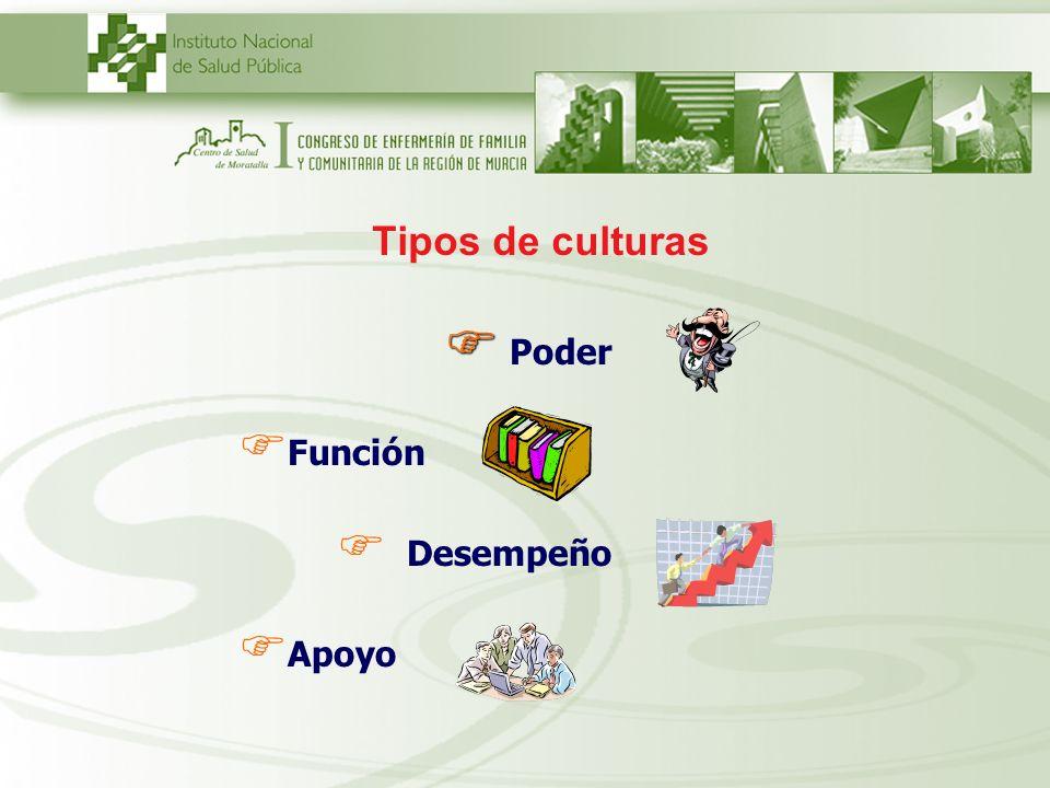 Tipos de culturas Poder Función Desempeño Apoyo