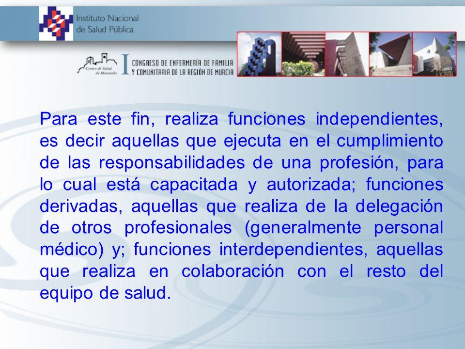 Para este fin, realiza funciones independientes, es decir aquellas que ejecuta en el cumplimiento de las responsabilidades de una profesión, para lo c
