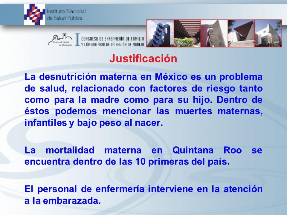 La desnutrición materna en México es un problema de salud, relacionado con factores de riesgo tanto como para la madre como para su hijo. Dentro de és