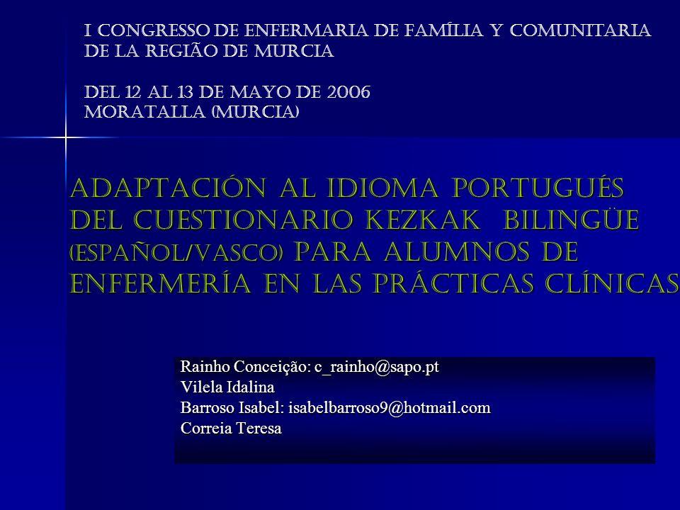 Adaptación al idioma portugués del cuestionario KEZKAK bilingüe (Español/Vasco) para alumnos de enfermería en las prácticas clínicas Rainho Conceição:
