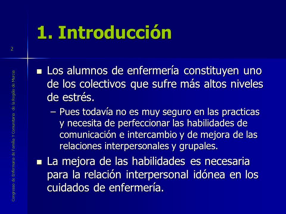 Congresso de Enfermaria de Família Y Comunitaria de la Região de Murcia 2 1. Introducción Los alumnos de enfermería constituyen uno de los colectivos
