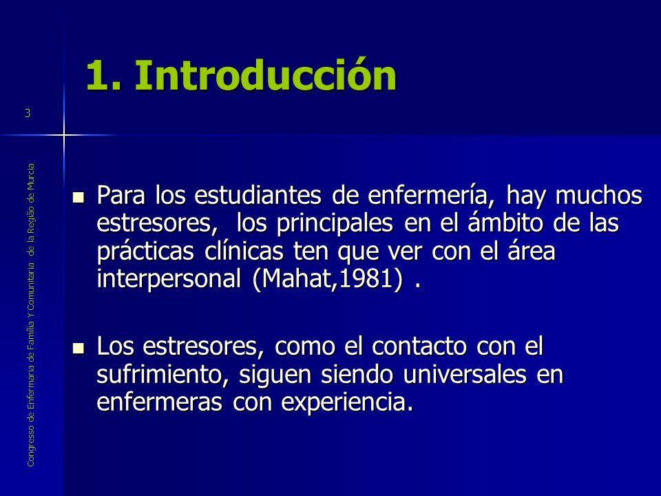Congresso de Enfermaria de Família Y Comunitaria de la Região de Murcia 3 1. Introducción Para los estudiantes de enfermería, hay muchos estresores, l