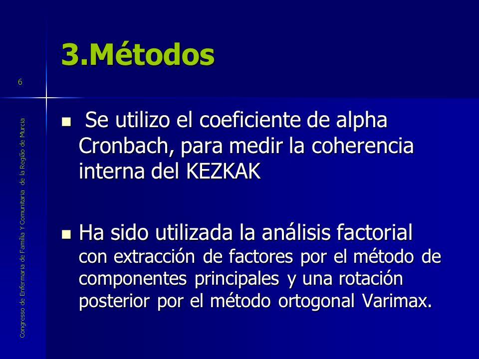 Congresso de Enfermaria de Família Y Comunitaria de la Região de Murcia 6 3.Métodos Se utilizo el coeficiente de alpha Cronbach, para medir la coheren