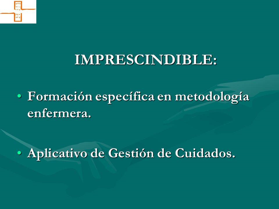 IMPRESCINDIBLE: Formación específica en metodología enfermera.Formación específica en metodología enfermera. Aplicativo de Gestión de Cuidados.Aplicat