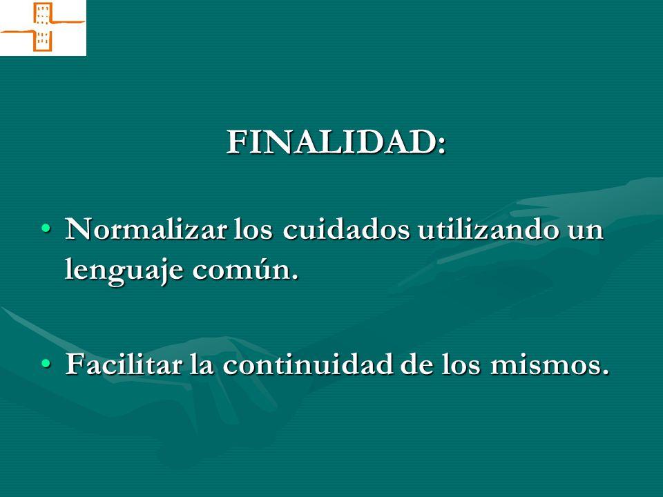 FINALIDAD: Normalizar los cuidados utilizando un lenguaje común.Normalizar los cuidados utilizando un lenguaje común. Facilitar la continuidad de los
