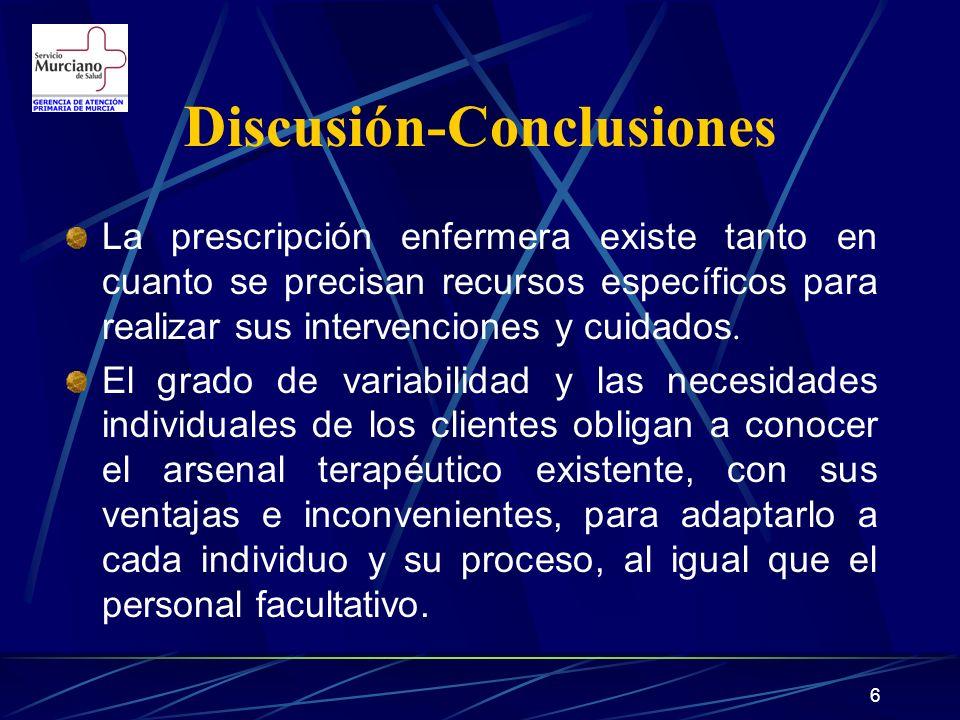 7 Discusión-Conclusiones (II) Estos datos confirman la necesidad de la prescripción enfermera para realizar mejor su trabajo, con autonomía y sin generar prescripción diferida y consultas extras a los facultativos.