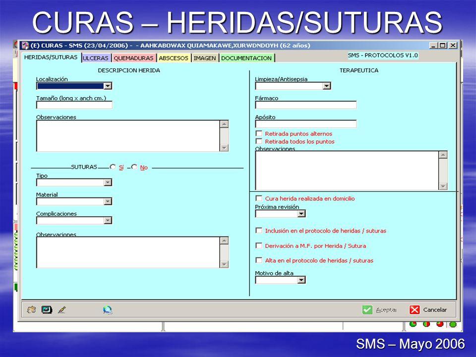 CURAS – HERIDAS/SUTURAS SMS – Mayo 2006