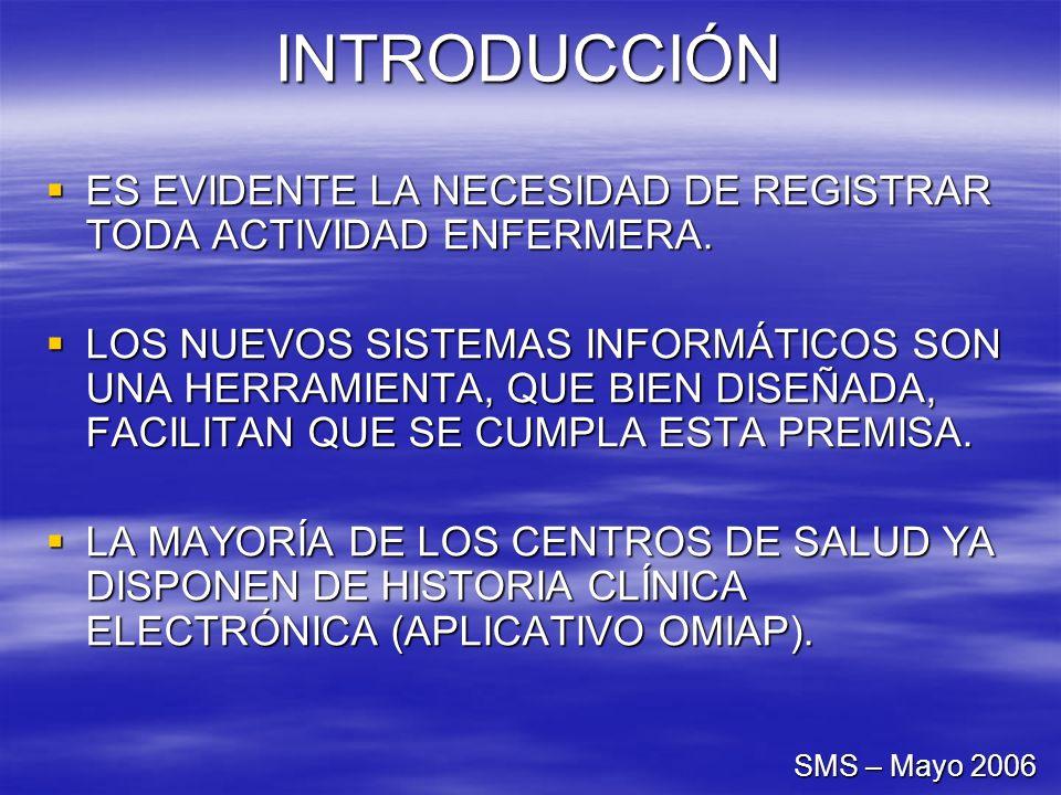 INTRODUCCIÓN SMS – Mayo 2006 ES EVIDENTE LA NECESIDAD DE REGISTRAR TODA ACTIVIDAD ENFERMERA. ES EVIDENTE LA NECESIDAD DE REGISTRAR TODA ACTIVIDAD ENFE