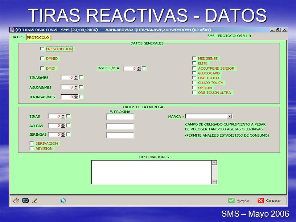 TIRAS REACTIVAS - DATOS SMS – Mayo 2006
