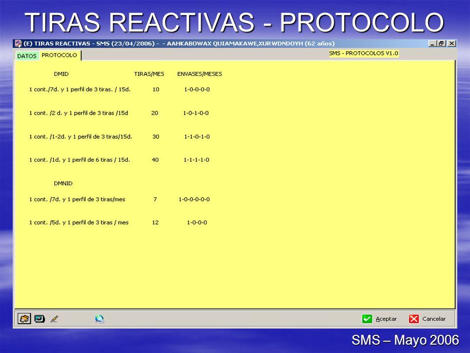 TIRAS REACTIVAS - PROTOCOLO SMS – Mayo 2006