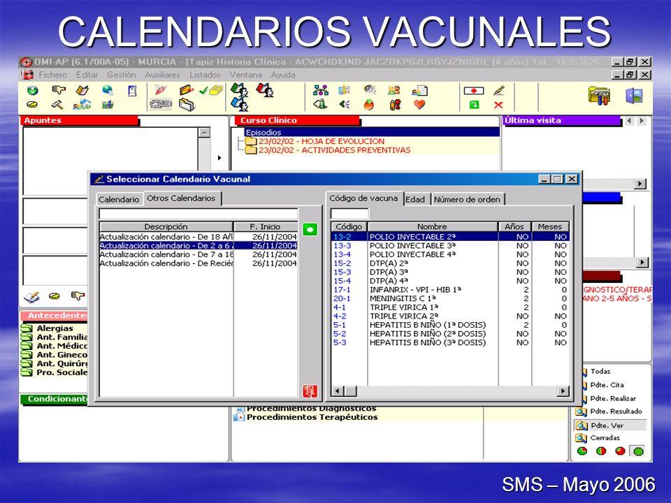 CALENDARIOS VACUNALES SMS – Mayo 2006