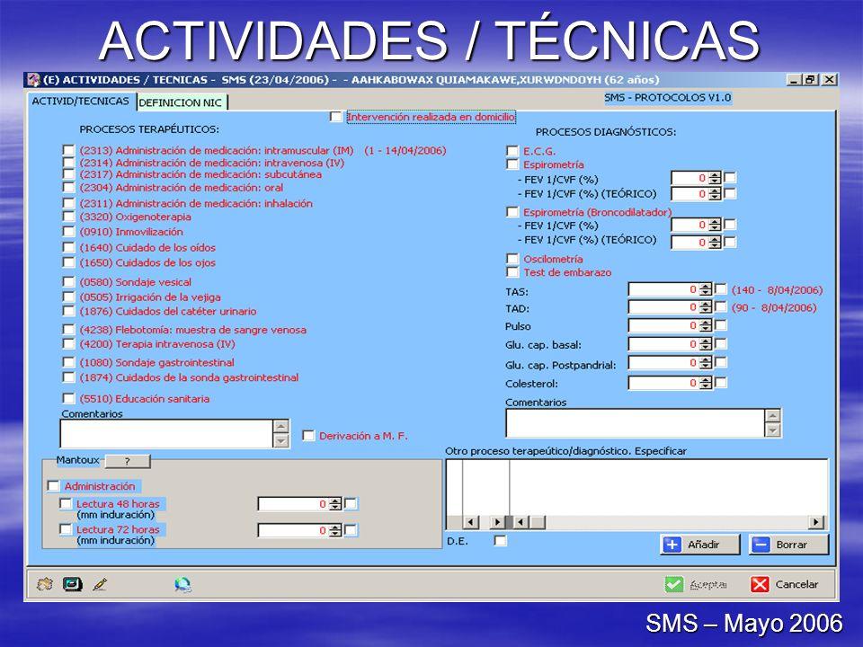 ACTIVIDADES / TÉCNICAS SMS – Mayo 2006